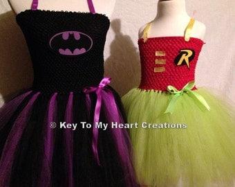 Batman..Batgirl inspired PURPLE superhero tutu costume dress set with mask...LINED top