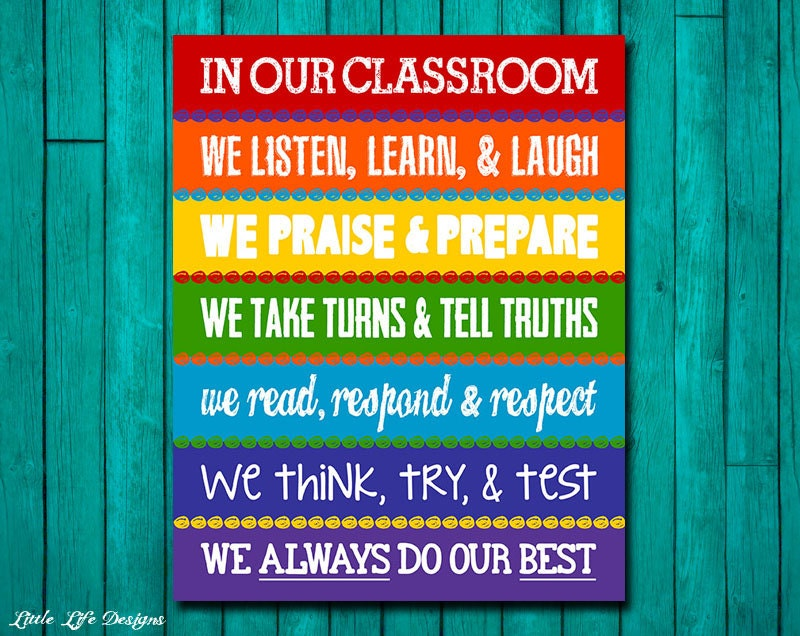Classroom Rules Decor ~ Classroom decor rainbow rules sign
