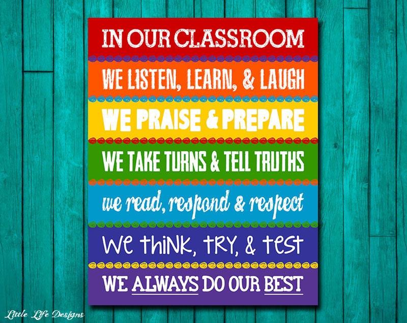 Classroom Rules Decor : Classroom decor rainbow rules sign