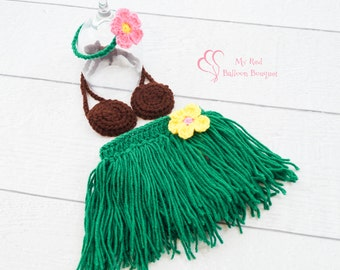 Newborn Hula Skirt with Coconut Bra and Flower Headband - Baby Hula Photo Prop - Summer Prop - Baby Grass Skirt - Hawaiian Hula Costume