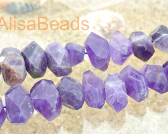 Natural Amethyst,faceted nugget,10x13mm-12x18mm,beads,15 inches