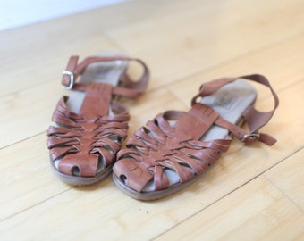 vintage woven tan leather wood wedge t strap sandals womens 6 1/2 *