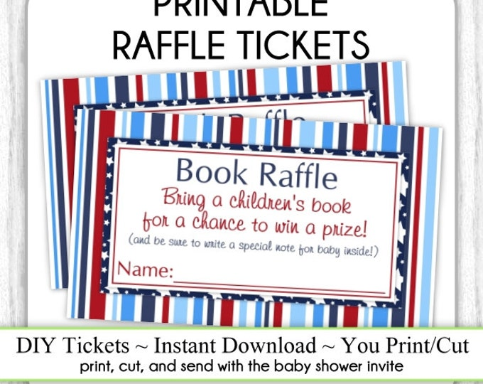 INSTANT DOWNLOAD - Book Raffle Tickets, Nautical Baby Shower Raffle Tickets, You Print, DIY