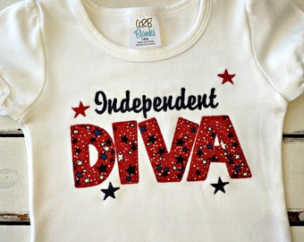 4th Of July,  Independent DIVA, Girl's Patriotic Applique Shirt, Miss America