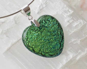 P24- Dichroic glass heart  pendant and sterling silver .925