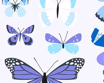Half Yard - 1/2 Yard - Butterfly Box in Blue - NATURAL HISTORY by Lizzy House for Andover