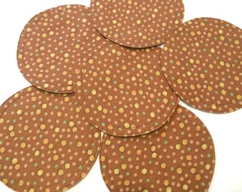 Brown Fabric Coasters Dots Multi Colored Set of 6