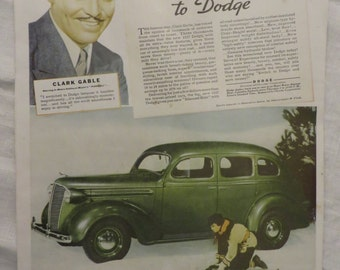 Dodge Automobile Ad from the 1930s Featuring Clark  Gable  //  Auto Advertising  //  Chrysler Corporation