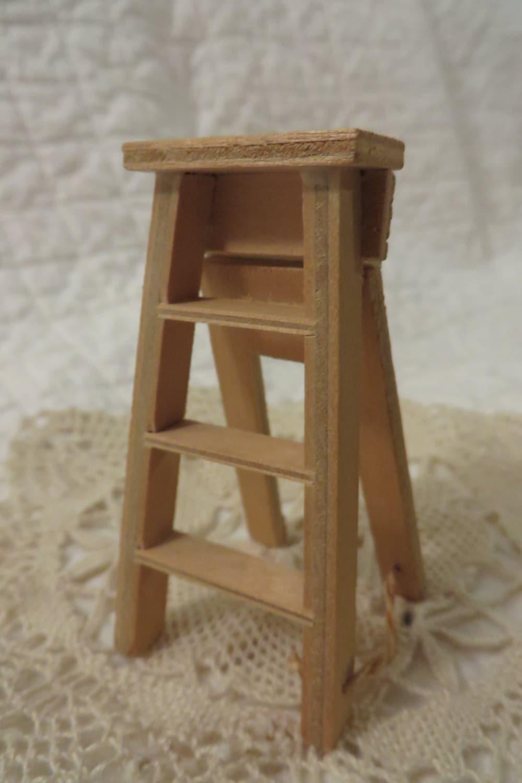Miniature Wooden Step Ladder Solid Wood Vintage Doll