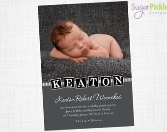 Birth Announcement, Baby Boy Birth Announcement, Baby announcement, New baby boy, Photo baby announcement, 5x7