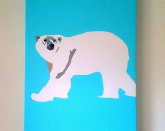 Polar Bear canvas print aqua blue background
