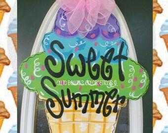 Sweet Summer Ice Cream Cone Wood Door Hanger Sign