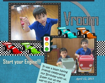 Racing Cars Birthday Scrapbook Page, Custom Digital Design