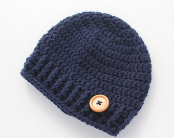 Baby hat, crochet baby hat, baby boy hat, navy blue, boy winter hat, infant hat, crochet beanie, baby beanie, baby shower gift - MADE TO ORD
