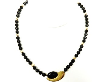 Vintage 14K Gold and Onyx Beaded Choker Necklace with Gold and Onyx Pendant