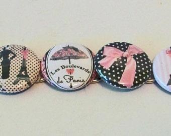 Unique Vintage Style Pink and Black Fashionista Paris Eiffel Tower Bottlecap Designs Fashion Button Bracelet