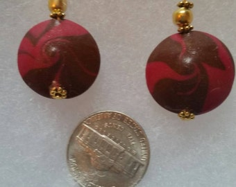 Hand crafted pink and brown swirl earrings
