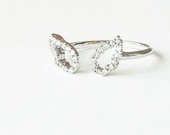 Clearance SALE angel wings cubic adjustable silver ring