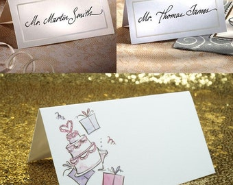 50 x Place Cards, Wedding, Name Placecards, blank white or ivory folded, FREE POSTAGE Australia Wide
