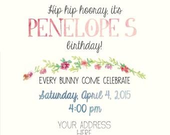 Bunny Themed First Birthday Invitation