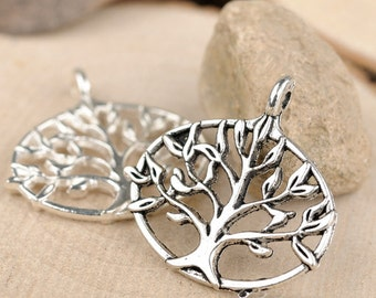 15pcs 27mm Antique silver Tree Charms Pendants