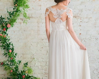 Ivory Silk Chiffon Wedding Dress, Beaded Lace Cap Sleeve Wedding Gown, Racer Back Wedding Gown, Lace and Chiffon Wedding Dress - Vivien Gown