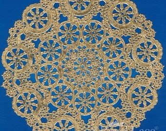 "50/1Set - 5"" Metallic Gold Round Medallion Doilies"