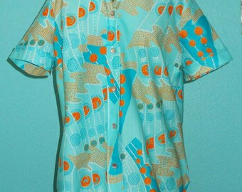 "60s70s Vintage ""Sears"" Ladies Abstract Print Short Sleeve Polyester Shirt"
