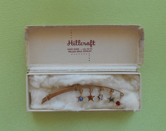 Hillcraft Brooch - Rolled Gold with Rhinestone Stars