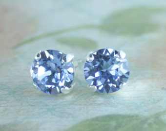 Stud earrings,crystal earrings,crystal stud earrings,blue stud earrings,light blue earrings,blue sapphire earrings,periwinkle,light sapphire