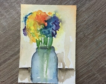 Original, Artwork, Watercolor, Unframed, All New Mini Watercolor Painting