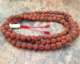 Rudraksha Seed 108 Beads Full Mala Necklace for Meditation and Yoga