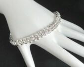 Vintage Rhinestone Tennis Bracelet, Signed Premier Designs Double Row Bracelet