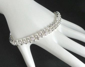 Rhinestone Tennis Bracelet, Premier Designs Bracelet, Vintage Silvertone Tennis Bracelet, Double Row Rhinestone Bracelet