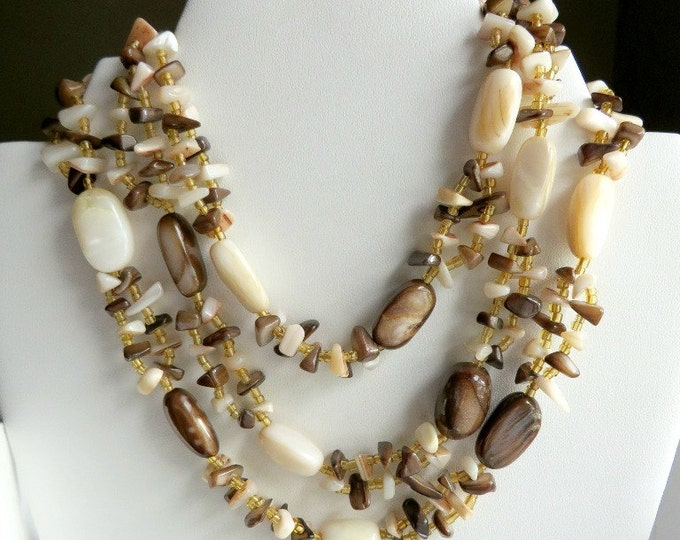 Japan Quartz Necklace, Vintage Triple Strand Necklace, Brown & White Necklace, FREE SHIPPING