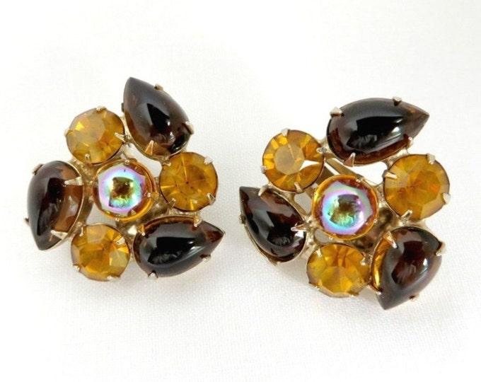 Juliana Amber Earrings, Vintage Rhinestone Amber Brown Gold Tone Clip-on Designer Earrings