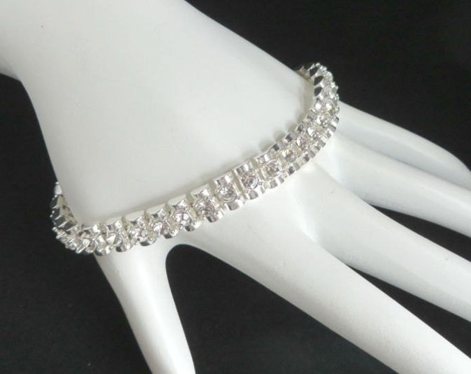 Rhinestone Tennis Bracelet, Premier Designs Bracelet, Vintage Silvertone Double Row Rhinestone Bracelet, FREE SHIPPING