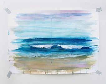 "Ocean Painting Sea Art Acrylic // A3 - 11.5 x 16.5"" on paper"