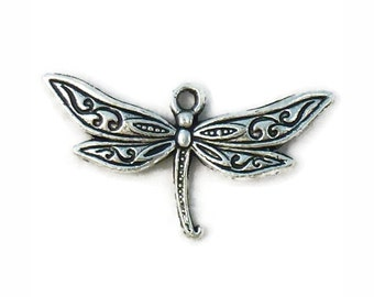 BULK 40 Ornate Silver Dragonfly Charm Pendant for Nature Jewelry 17x32mm by TIJC SP1069B