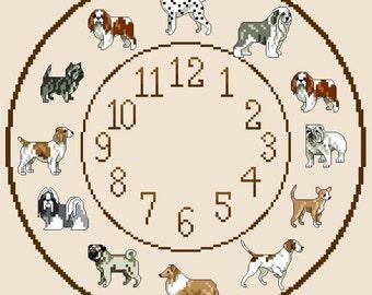 Dog Themed Cross Stitch Cloch Chart No 1