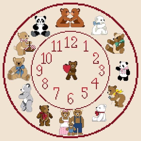 Teddy Bear (#2) Themed Cross Stitch Clock Chart / Pattern ...