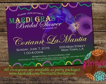 Mardi Gras Theme Bridal Shower Invitation- New Orleans Theme, Mardi Gras, Carnival Themed Wedding Party Invitation
