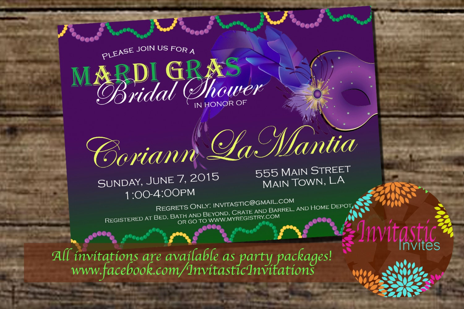 Wedding Invitations New Orleans: Mardi Gras Theme Bridal Shower Invitation New Orleans Theme