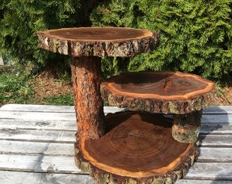 Dark Elm Wood Log Rustic Cake 50 Cupcake Stand Wedding party shower 3 tiered, lumberjack party, wild things are, boho, wild things are