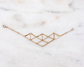Geometric Brass Bar Bracelet - Vintage Repurposed Brass Chain Bracelet