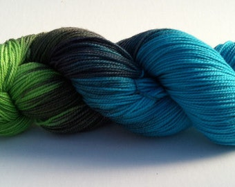 Baah La Jolla Yarn Color Big Wave Bay (Greens & Blues)  Hand Dyed Premium Artisan Yarn!    400 Yards!