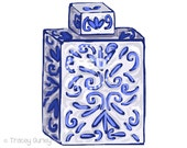 Blue and White Ginger Jar Clip Art - Original Art. chinoiserie jar clip art, Tracey Gurley Designs