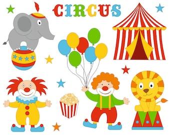 Funny Bright Circus Clip Art Set, Clowns Clipart, Digital Clip Art - Instant Download - YDC130