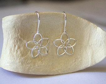 925 Sterling Silver FLOWER Wire Dangle Earrings - ER1860