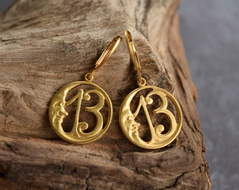 Lucky Number 13 Moon, Thirteen Earrings, Brass 13 Crescent Moon Medallion with Brass Leverback Ear Wires
